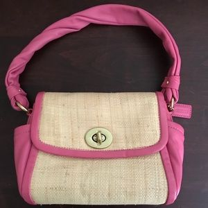 Coach Pink Leather and Straw Bag